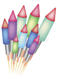 Rocket, vector, fireworks.