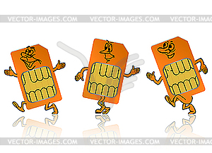 Sim card in the form of little people.