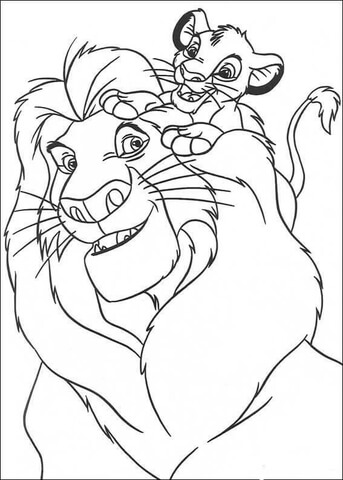 Simba and Mufasa coloring page.