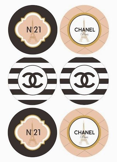 Chanel: Free Printable Toppers, Stickers, Bottle Caps or.