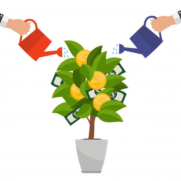 Concepto financiero árbol de dinero.