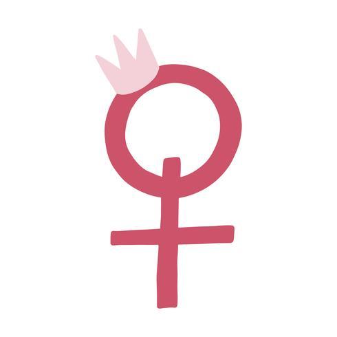 Pink female gender symbol vector.