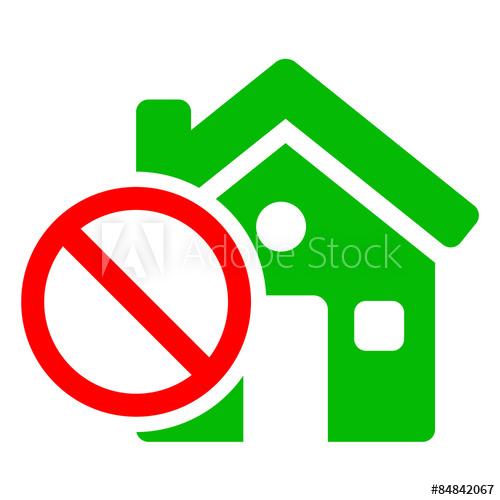 Icono casa con simbolo prohibido verde.