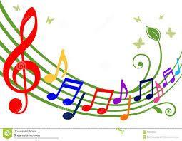 notas musicales de colores.