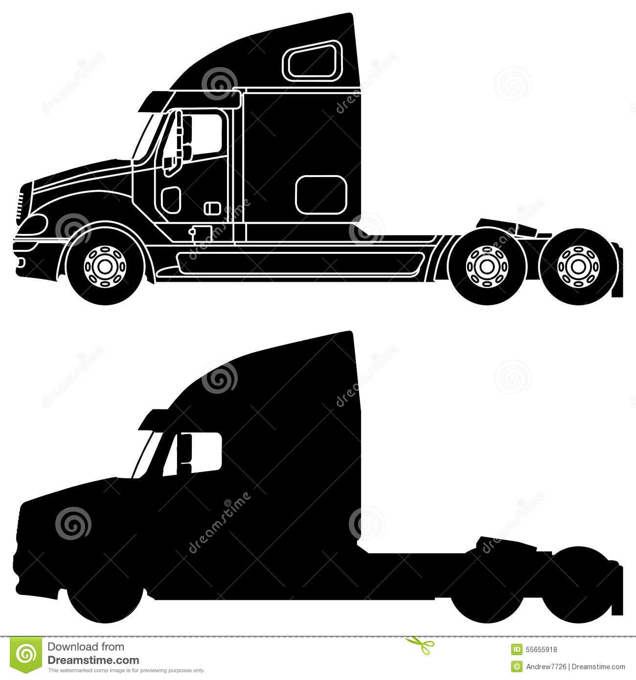 Simi truck silhouette clipart.