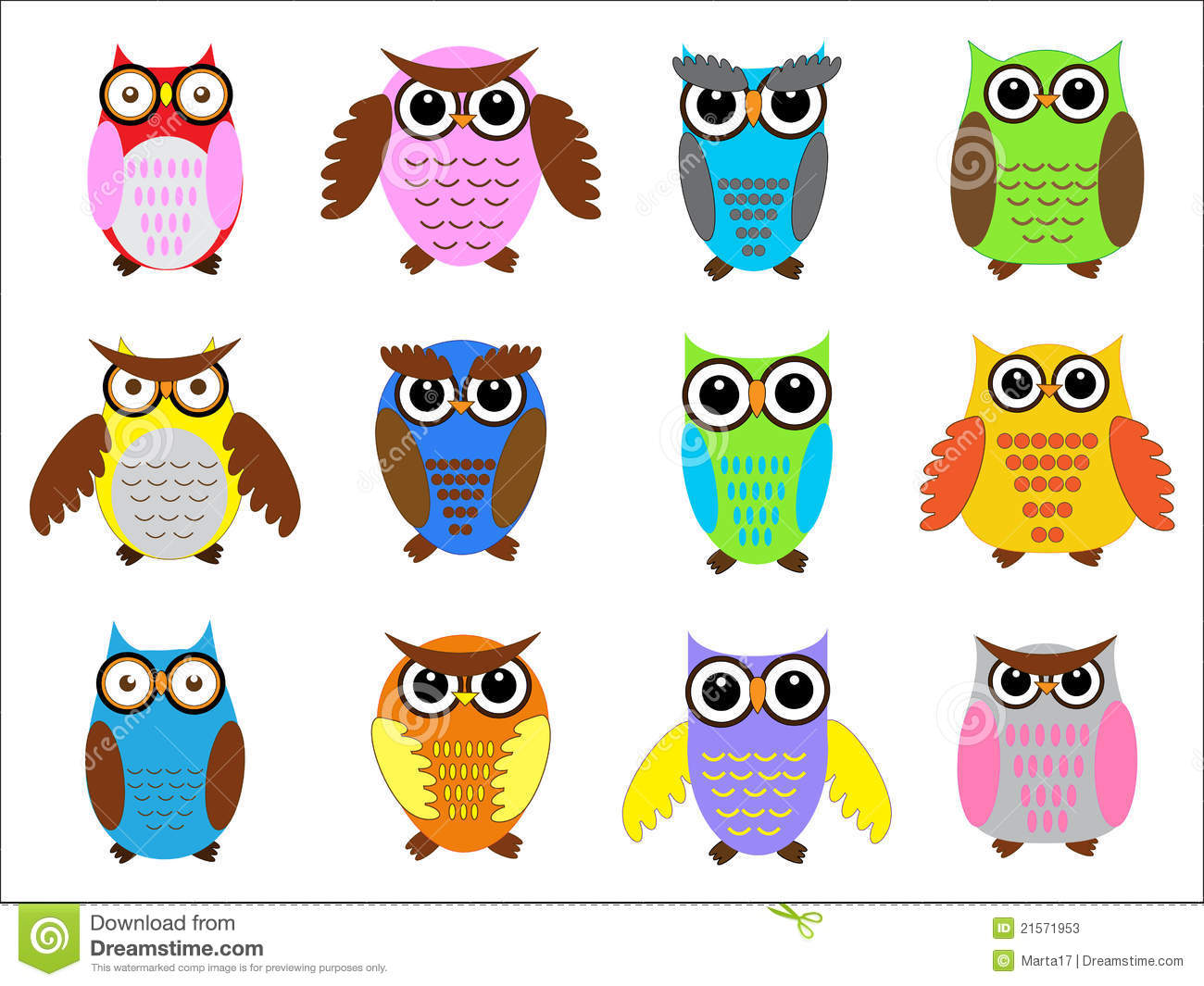 Color Owls Clip Art Royalty Free Stock Image.