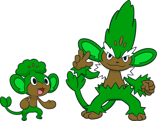 Alternate Shinies: Pansage and Simisage by high.