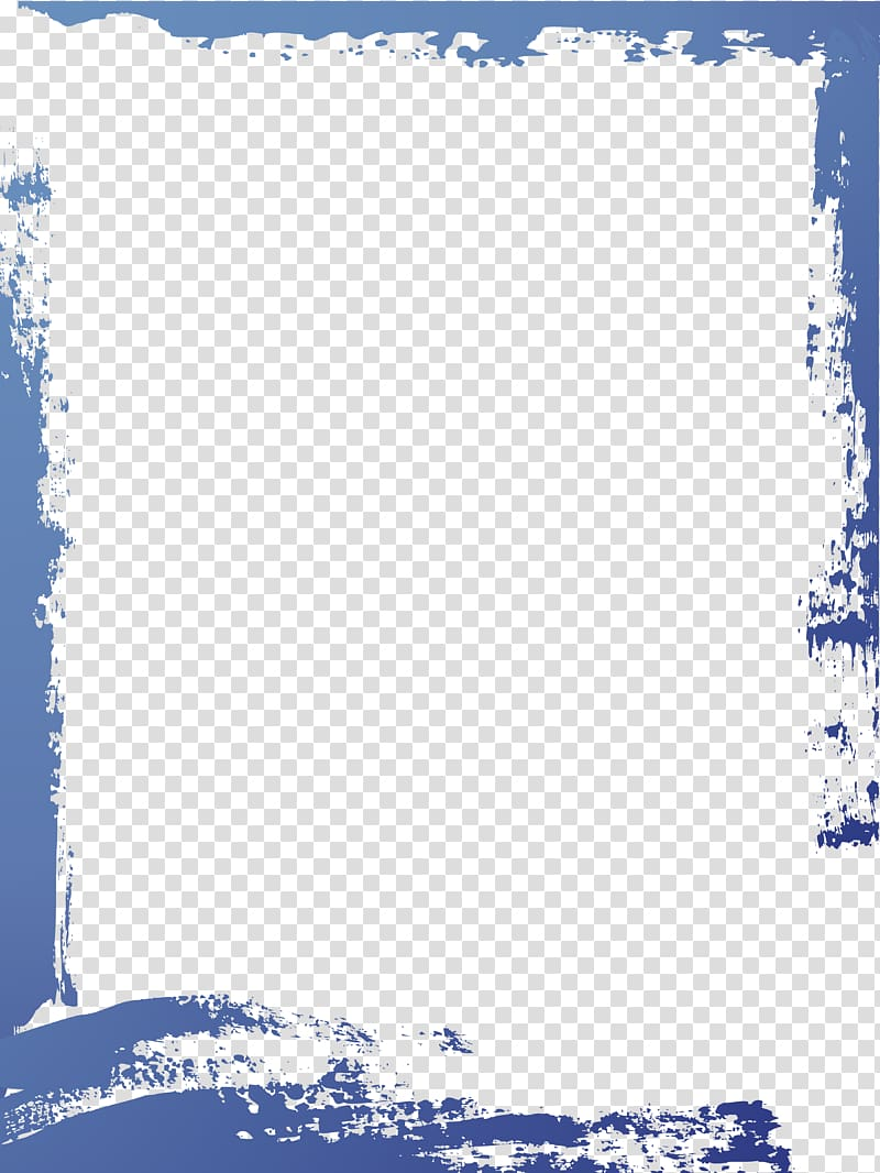 Simple Blue watercolor border frame transparent background.