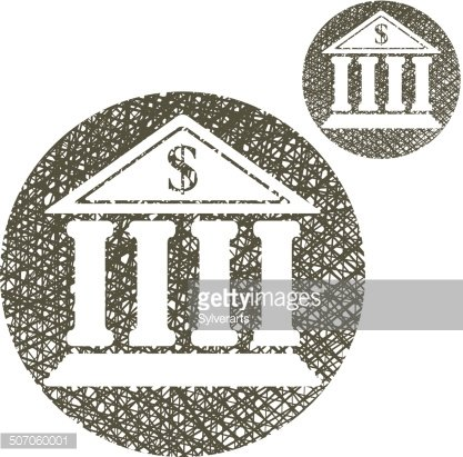 Bank building vector simple single color icon isolated on.