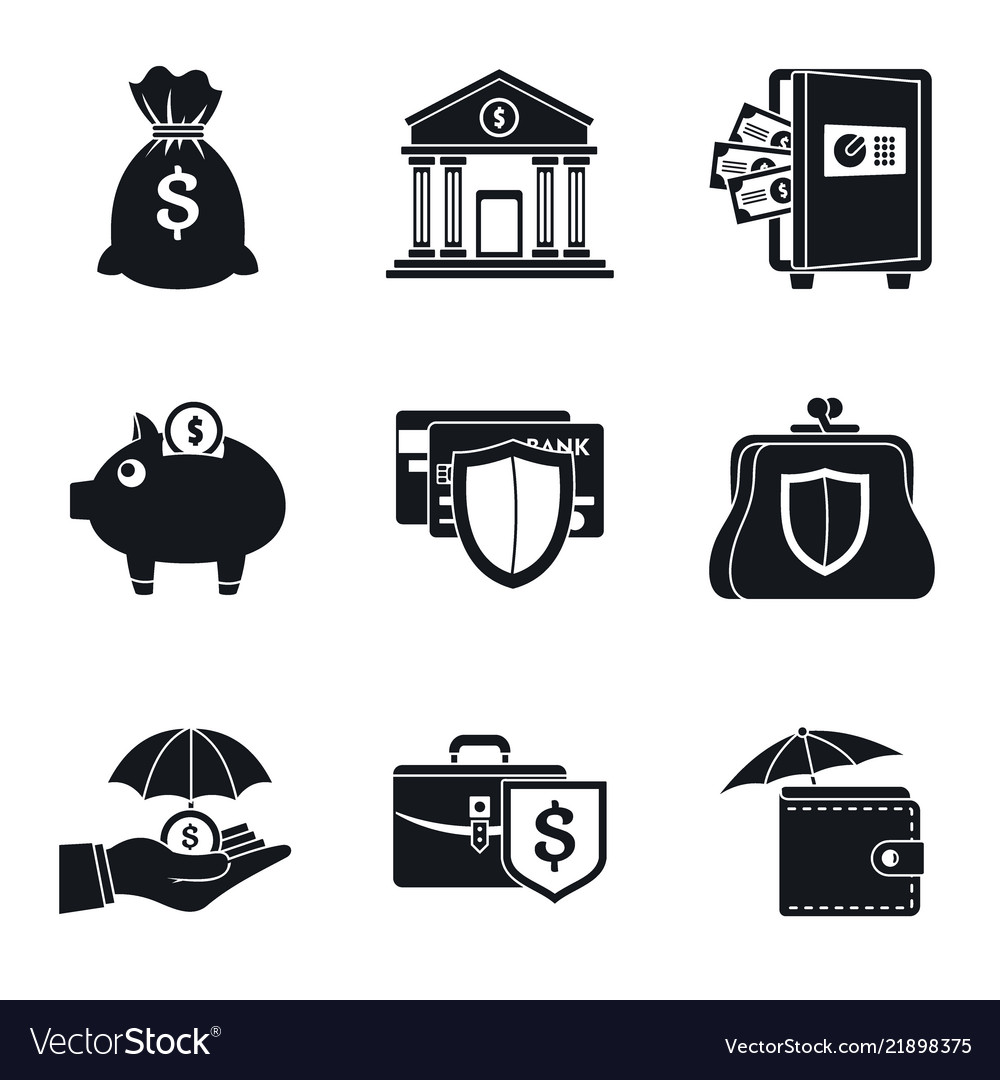 Bank deposit icon set simple style.