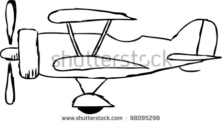 Simple Doodle Biplane Aircraft Stock Vector 98095298.