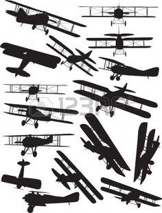 6 vector silhouettes of a ww1 era biplane..