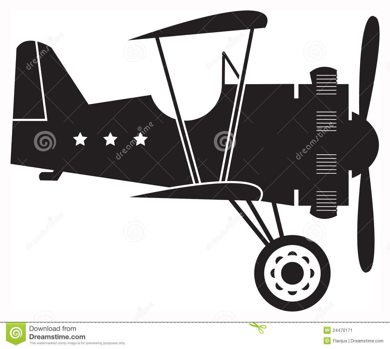 Silhouette Old Biplane Stock Illustrations.