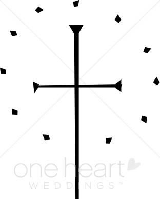 Simple Black Cross with Diamond Circle.