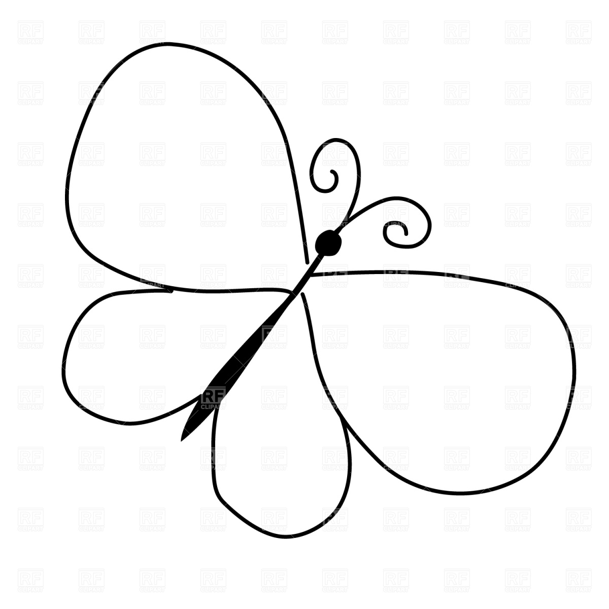 240 Butterfly Outline free clipart.