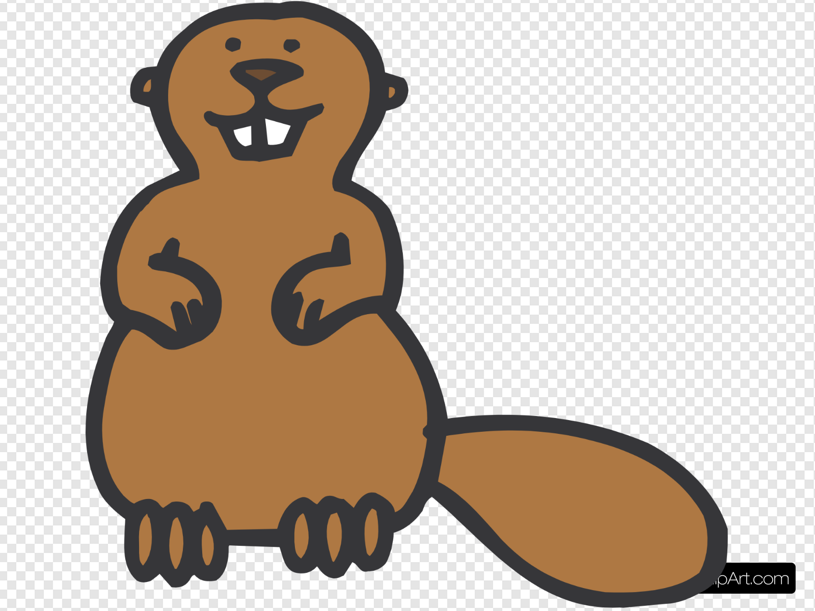 Simple Beaver Cartoon Clip art, Icon and SVG.