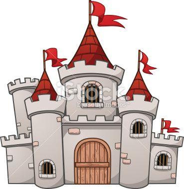 Cute cartoon castle. Vector illustration with simple.