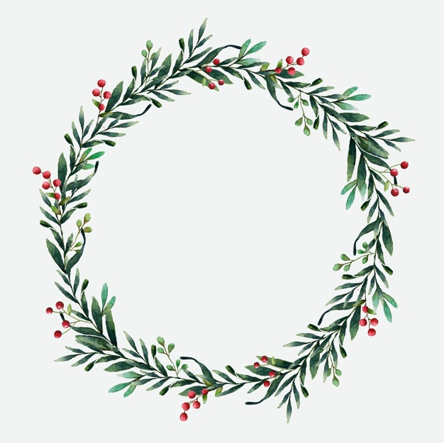 Rustic Christmas Wreath Clipart Black And White.
