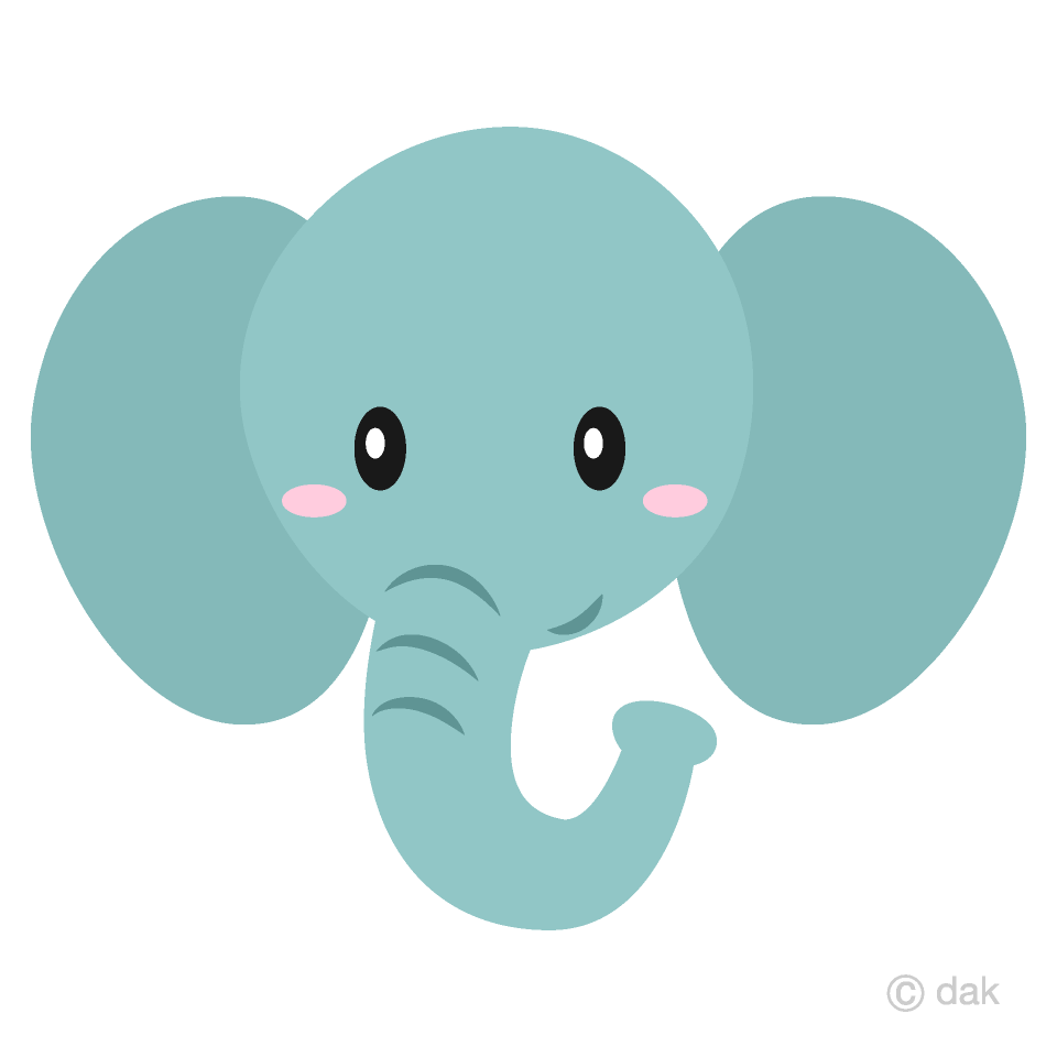 Simple Elephant Face Clipart Free Picture|Illustoon.