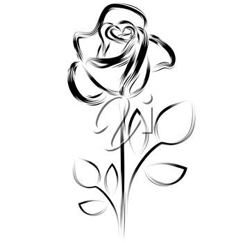 Clipart Illustration of a Simple Rose Image.