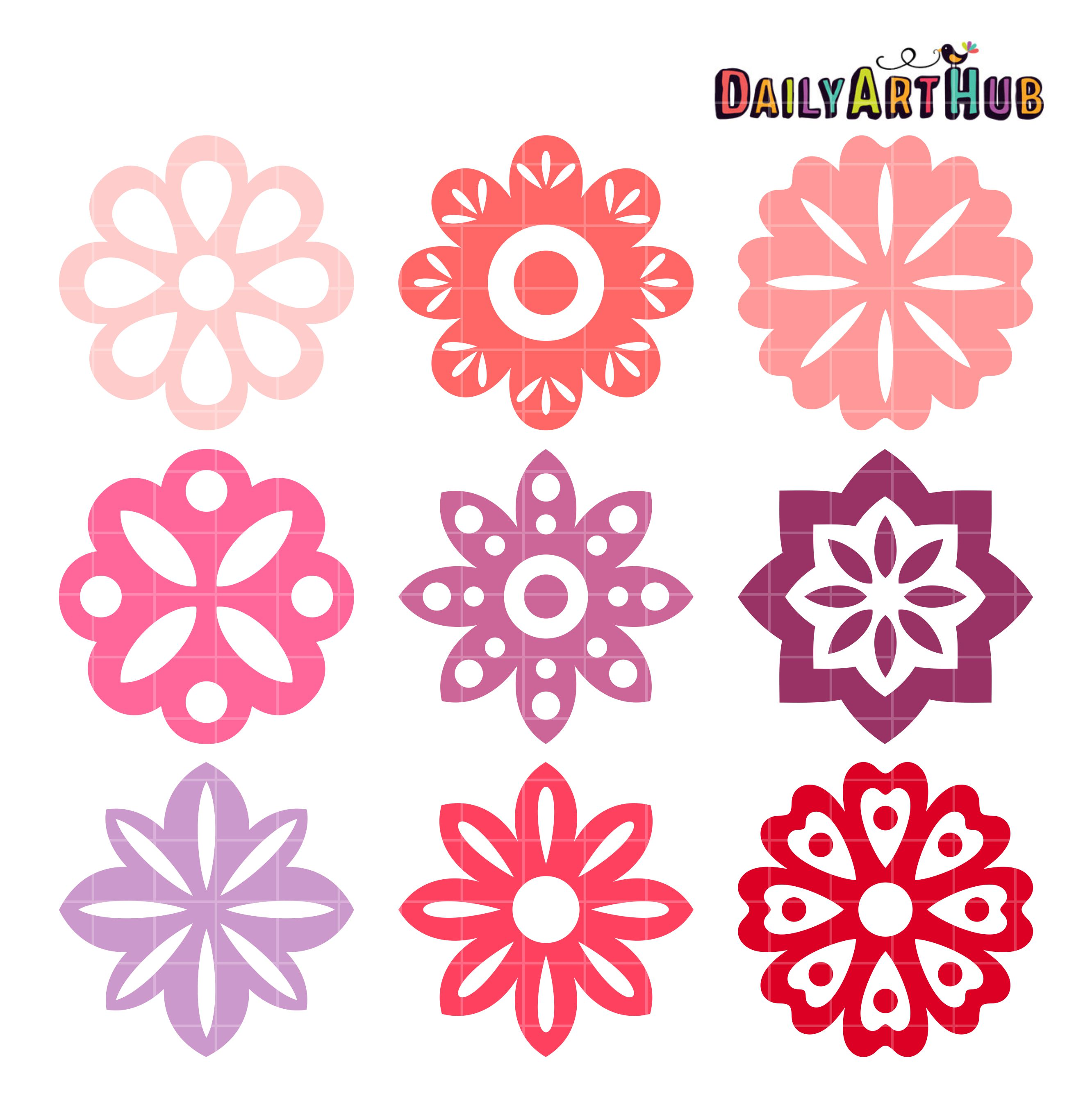 Simple Flower Shapes Clip Art Set.