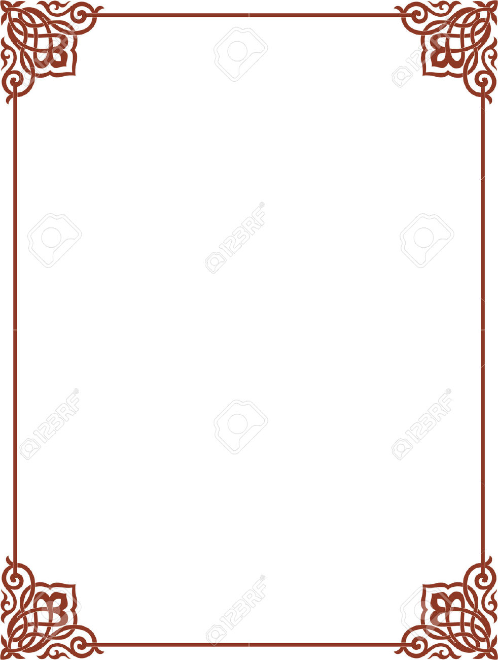 Simple Outline Vector Frame With Corners, Colored Royalty Free.