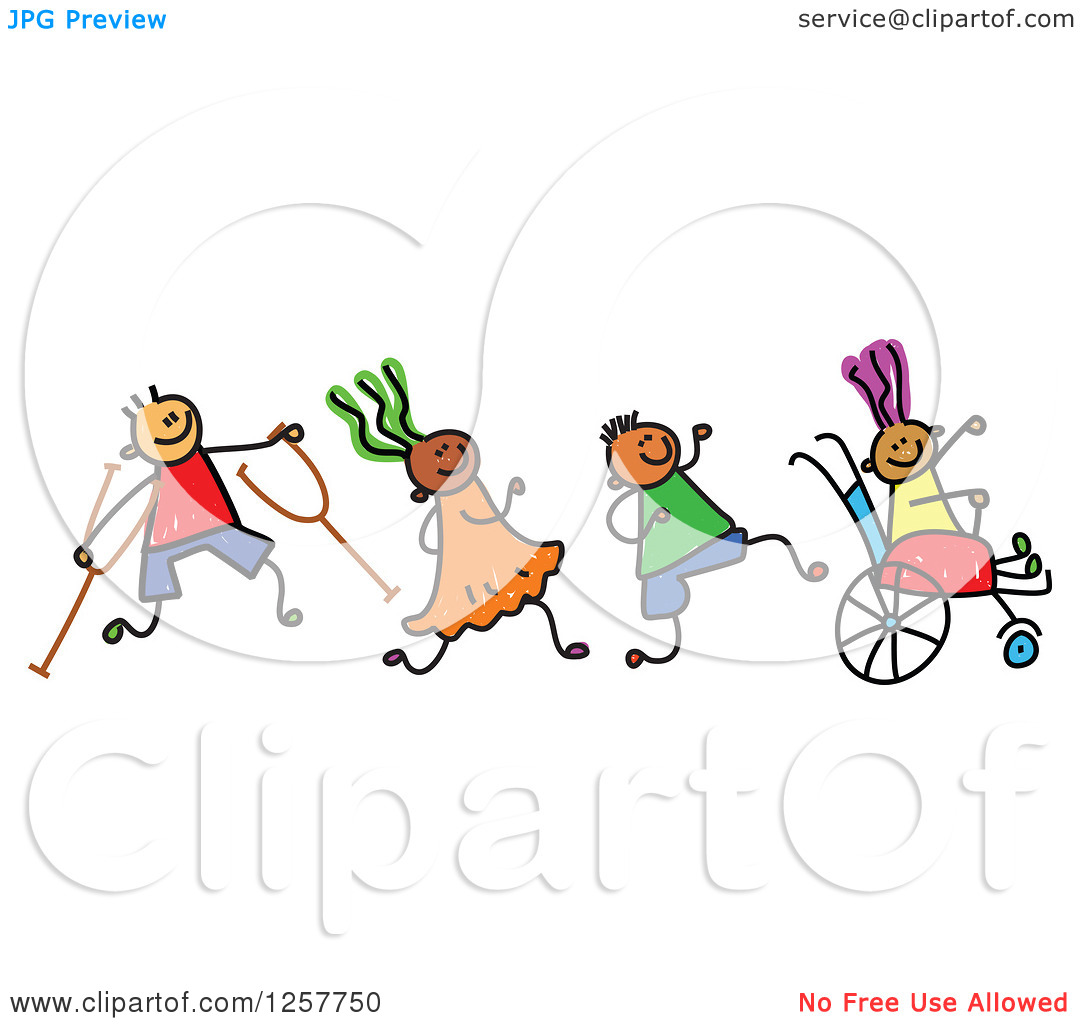 Diversity People With Wheel Chair Clipart.