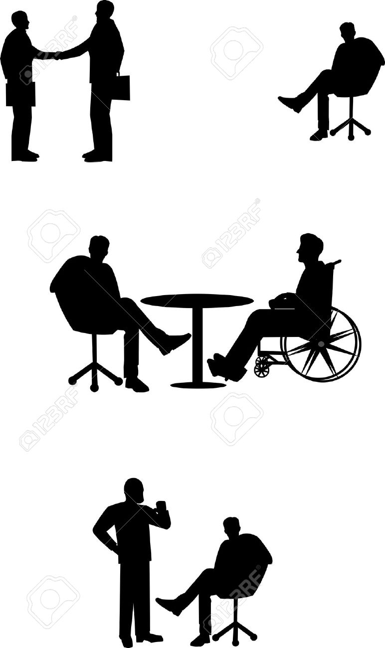 Simple Diversity People With Wheelchair Clipart Black And White.