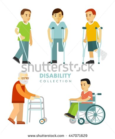 Simple Diversity People With Wheelchair Clipart.