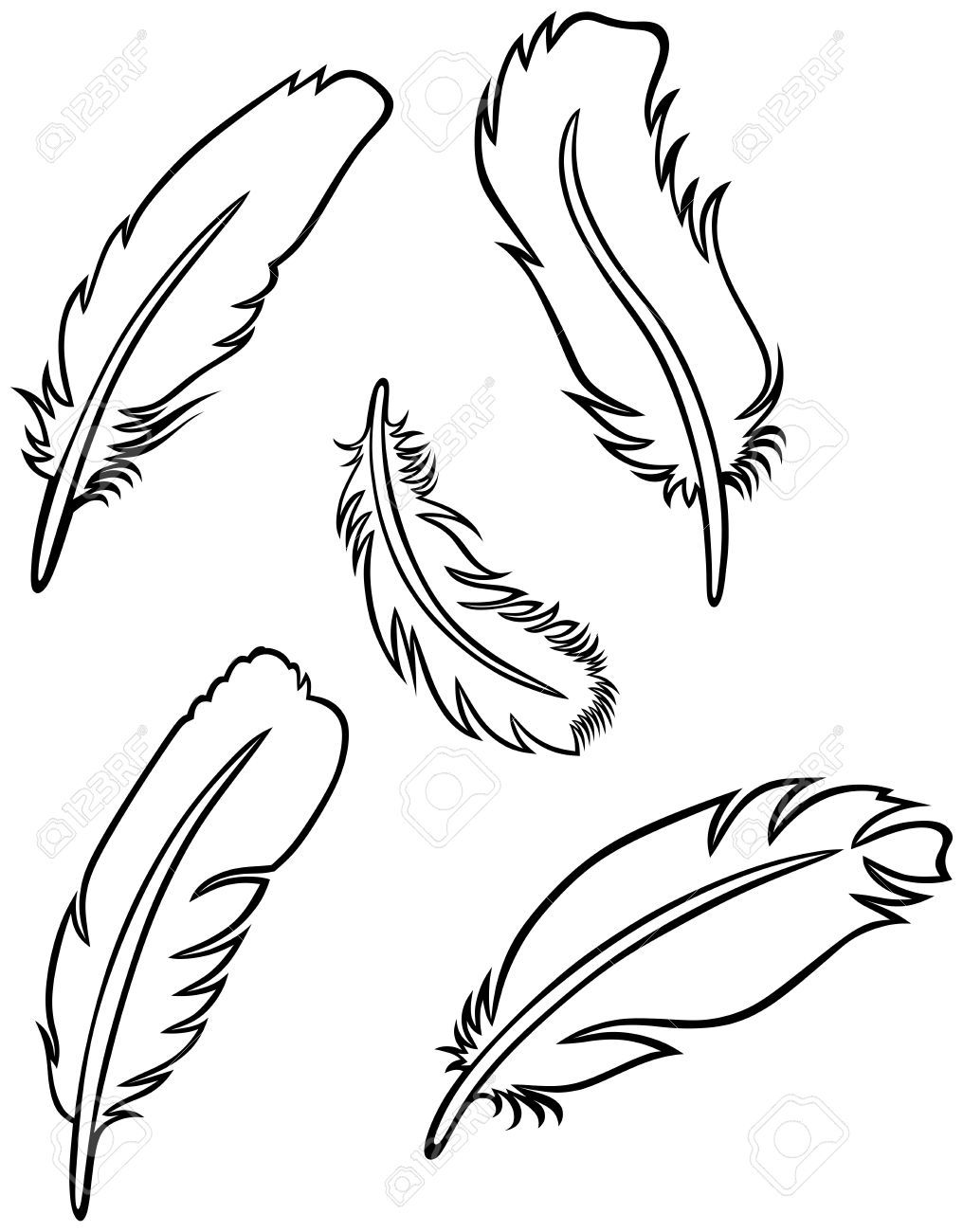 easy feather drawings.