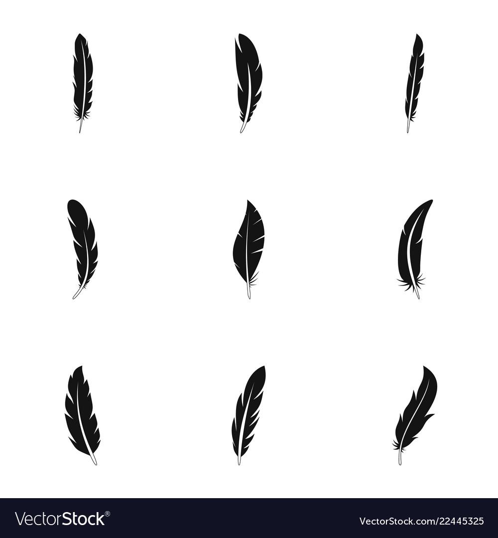 Boho feather icon set simple style.