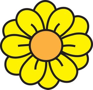 Simple Flower Shapes Rounded Style Clipart.
