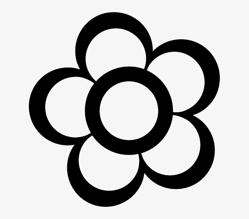 Black, Simple, Outline, Drawing, Flower, White, Flowers.
