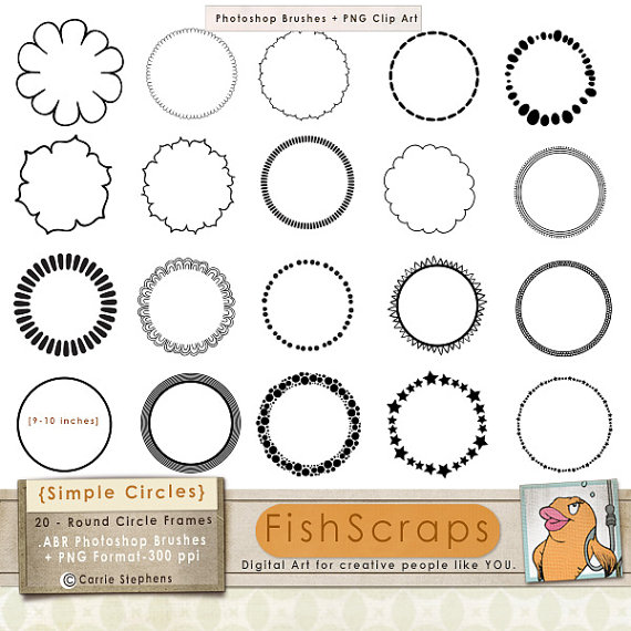 75% SALE Simple Circle Frames, 9 inch Round Clip Art Border.