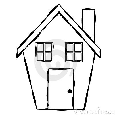 Simple House Line Art Royalty Free Stock Image.