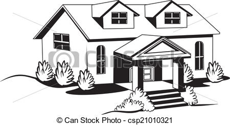 Simple House Clipart Black And White.