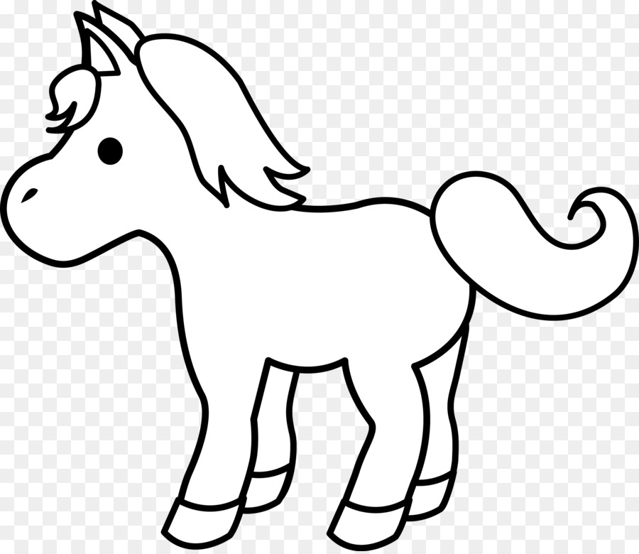 Simple Horse Pony Foal Black And White Clip Art Baby.