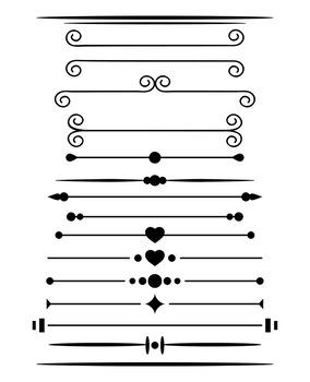 16 Simple Page Dividers Clipart, Border Clip Art, Line Divider, Header,  Vector.