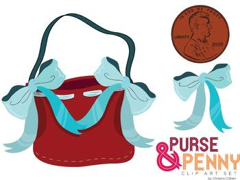 Lucy Locket Purse and Penny Clip Art Set.