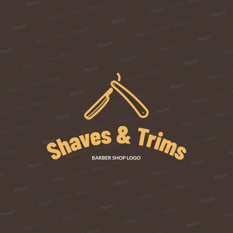Simple Logo Maker for a Barber Shop Featuring a Straight Razor Clipart  1153h 157.