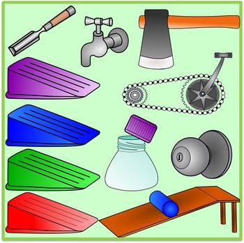 Simple Machines Clipart (Inclined Plane, Wheels and Axle, Gears, Screw,  Wedges).