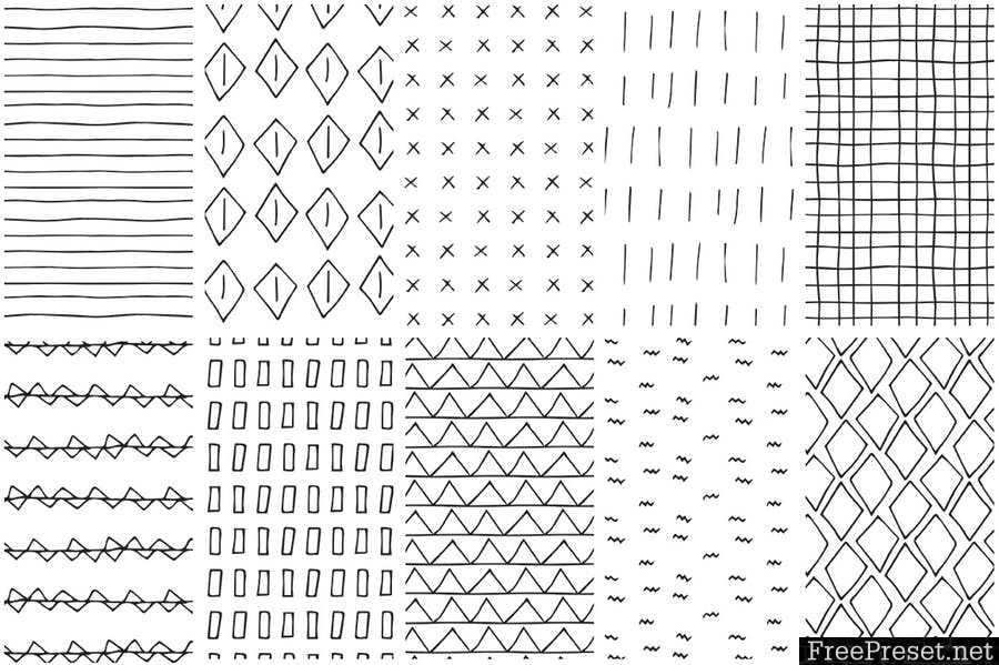 Simple Line Handdrawn Patterns YGAKXY.