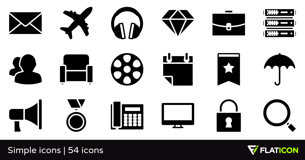Simple icons 54 free icons (SVG, EPS, PSD, PNG files).