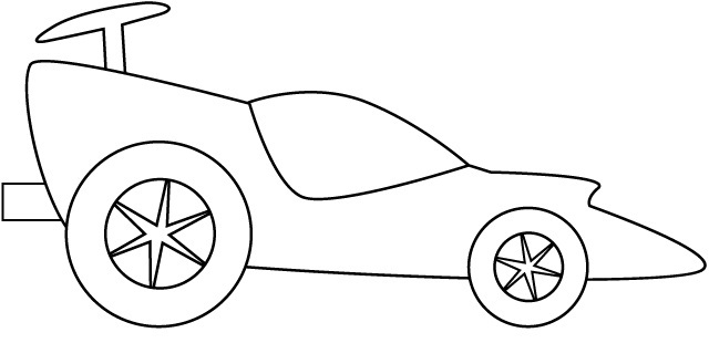 Simple Race Car Coloring Pages.