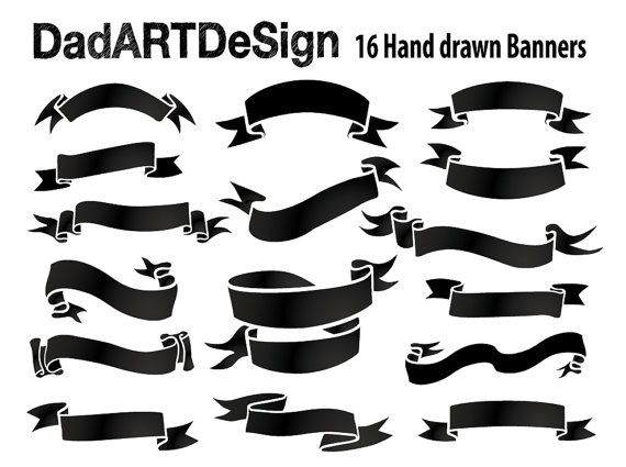 Simple Blank Ribbon Banners, hand drawn, 16 PNG HR files ready to.
