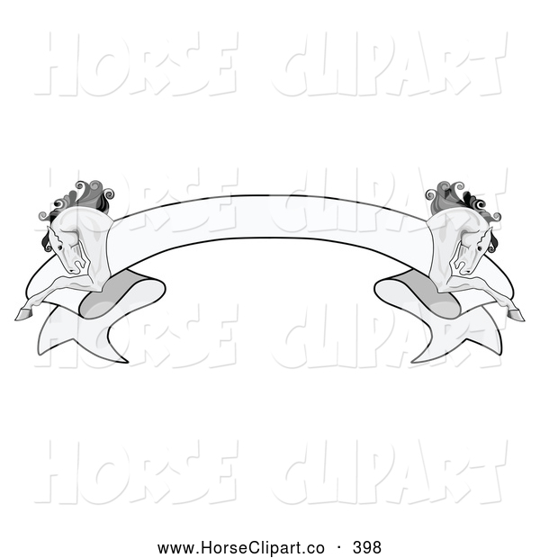 Clip Art of a Simple Grayscale Blank Ribbon Banner with a Running.