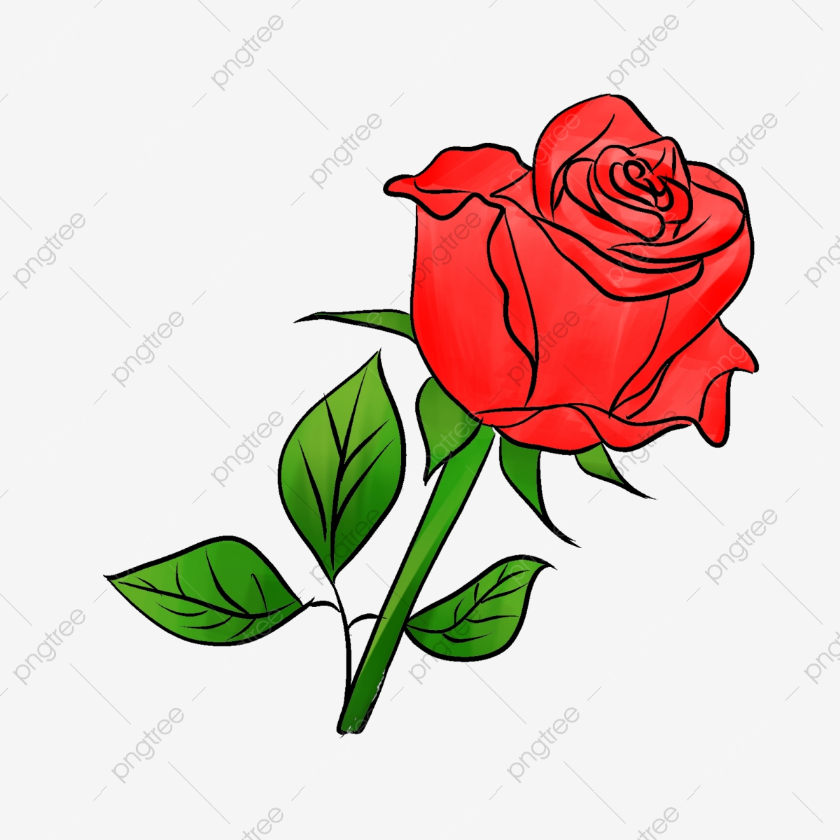 Rose Red Simple Flowers, Rose Clipart, Rose Red, Simple PNG.