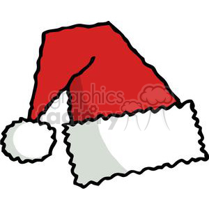 Simple red and white fuzzy santa hat clipart. Royalty.