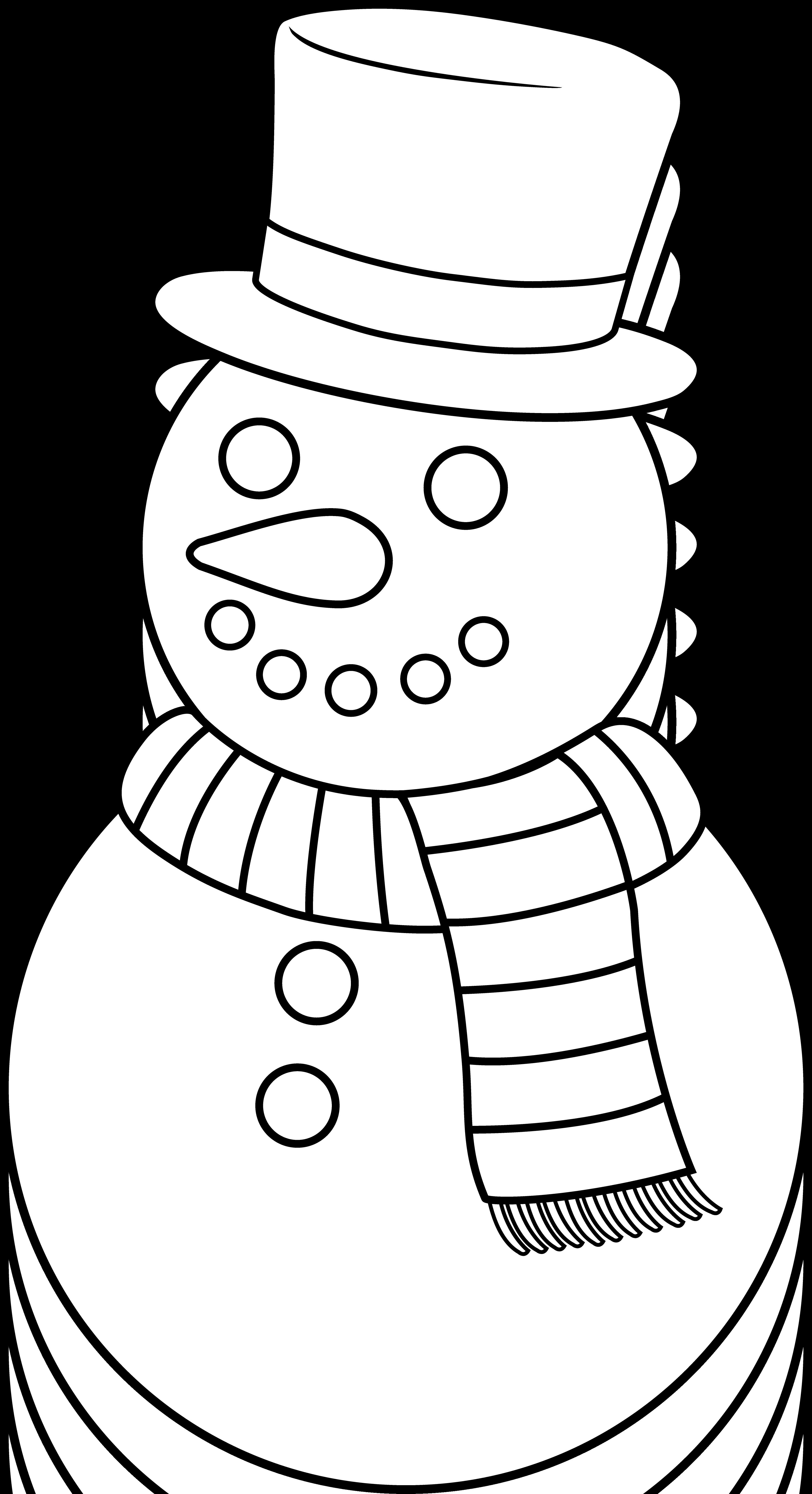 Colorable Christmas Snowman.