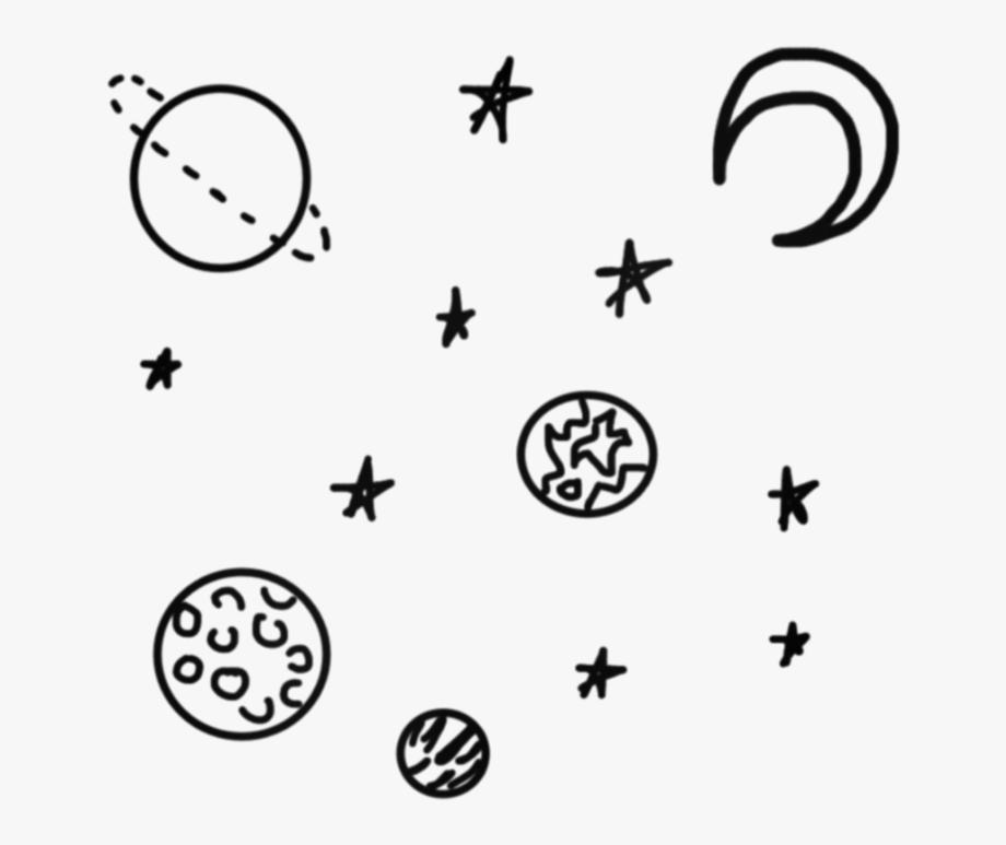 Doodle Space Black Tumblr Simple Star Stars Planet.